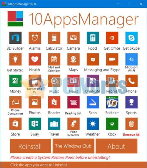 10AppsManager - 免费的Windows10自带应用卸载工具
