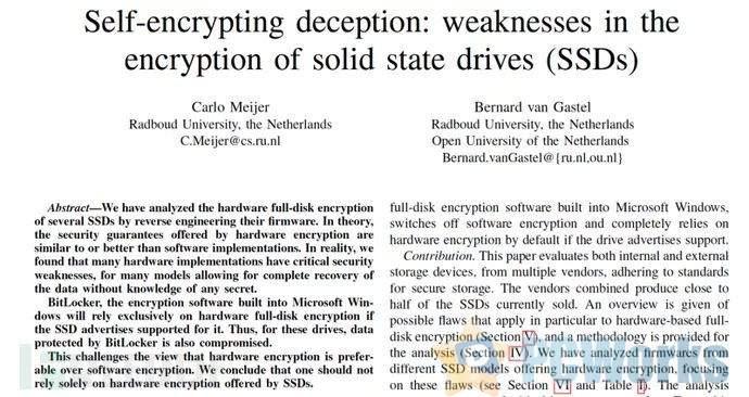 微软将SSD默认加密切换到BitLocker软件加密