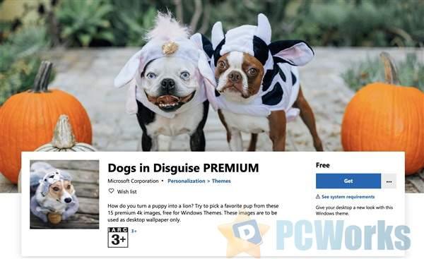 微软上线全新Win 10主题:可爱的变装狗狗
