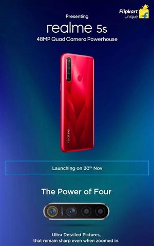 realme 5s正式官宣:红色配色 4800万后置四摄的千元新品