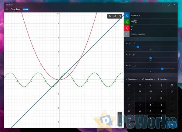 Windows 10计算器引入绘图模式:数学方程可视化