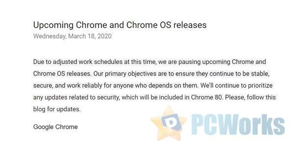 受疫情影响 谷歌Chrome浏览器/Chrome OS暂停更新