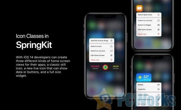 iOS 14桌面小工具演示:三种风格类型、可自由拖动