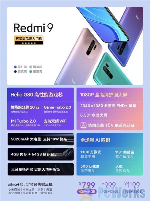 799元水桶机!Redmi 9正式发布:AI四摄/1080p 5020mAh电池