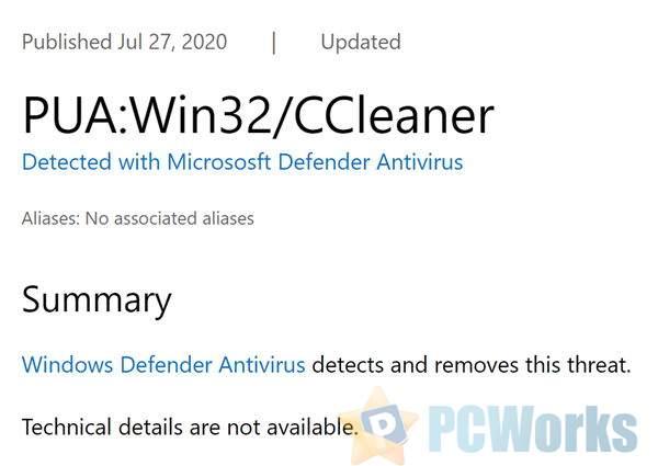 微软整治清理工具CCleaner:Windows Defender标记有害且直接拦截