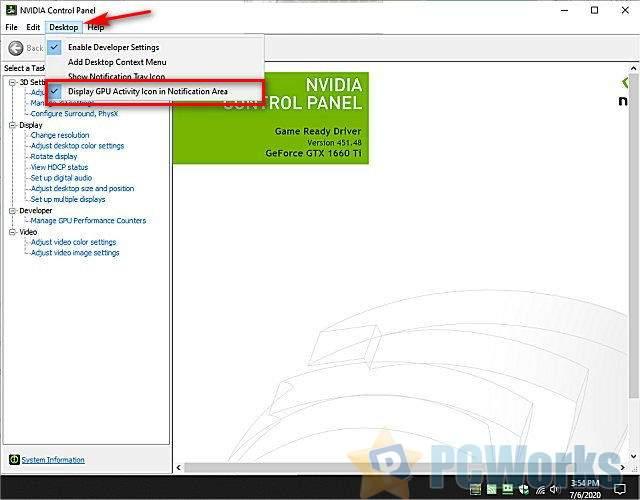 如何在系统任务栏中显示或隐藏NVIDIA Display GPU活动图标