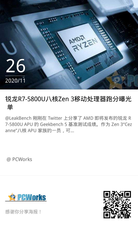 锐龙R7-5800U八核Zen 3移动处理器跑分曝光 单核性能较4800U提升38%